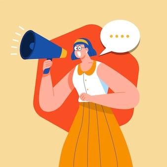 Vrouw schreeuwt iets met een megafoon