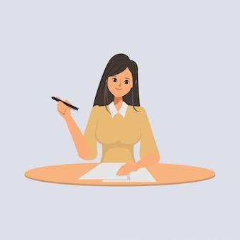 Vrouw schrijven karakter in bezetting