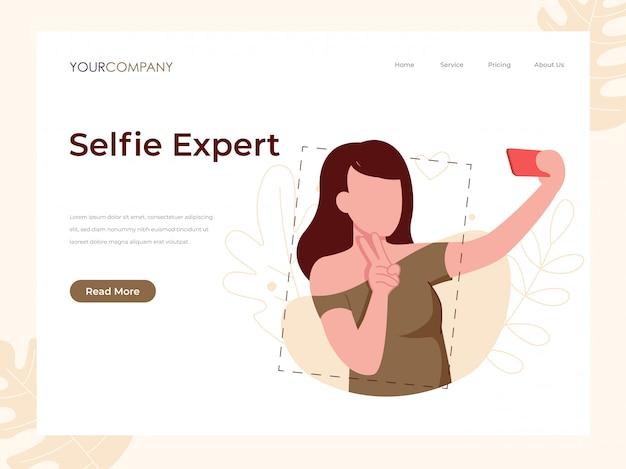 Vrouw selfie bestemmingspagina