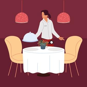 Vrouw serveerster met uniform dienblad in een restaurant