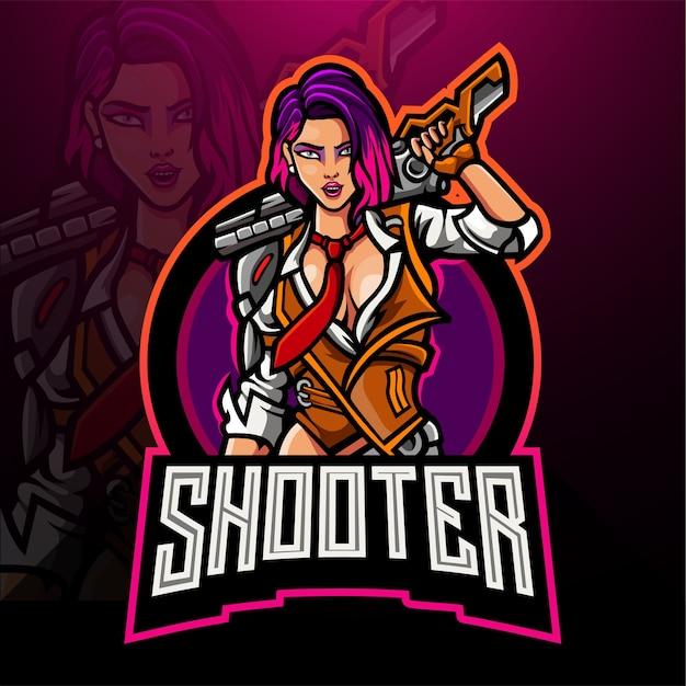 Vrouw shooter esport logo mascotte ontwerp