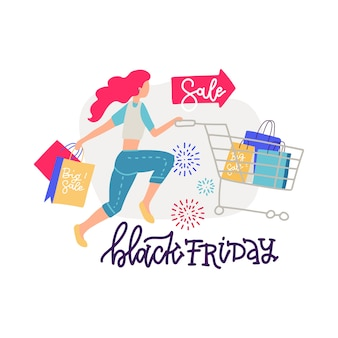 Vrouw shopper met winkelwagentje en papieren zakken. moderne vrouwelijke personage met trolley vol geschenken en cadeautjes in supermarkt of winkelcentrum. belettering met cartoon afbeelding.