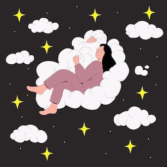 Vrouw sijpelt op een cloudhealthy slaapconcept in vlakke stijl