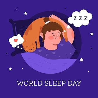 Vrouw slapende wereld slaapdag