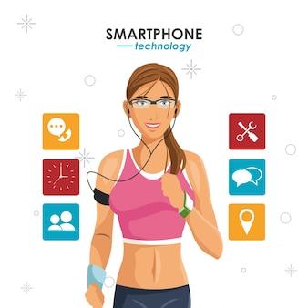 Vrouw smartphones sport wearable technologie