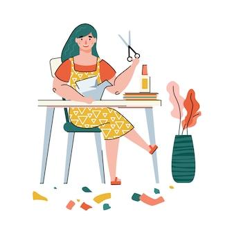 Vrouw snijden papier met een schaar voor origami kunst - cartoon kunstenaar