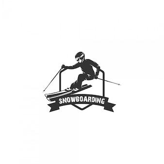 Vrouw snowboarden silhouet logo