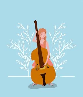 Vrouw spelen cello instrument karakter