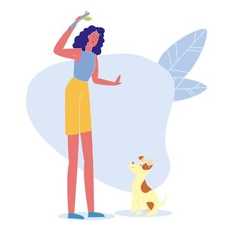 Vrouw spelen met puppy plat karakter