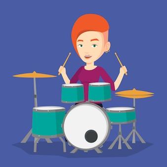 Vrouw spelen op drum kit illustratie.