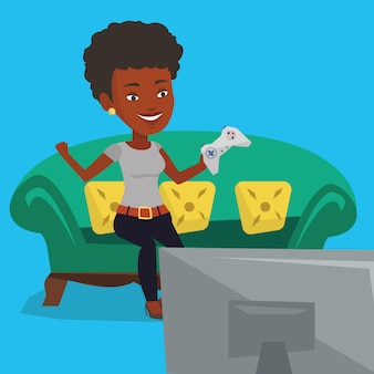 Vrouw spelen van video game illustratie.