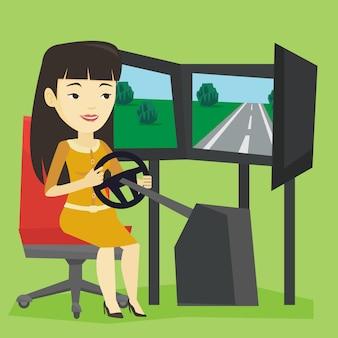 Vrouw spelen video game met gaming wiel.