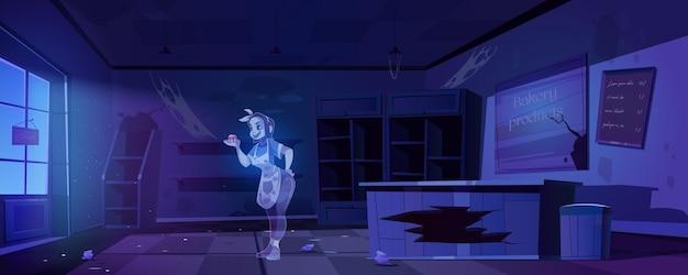Vrouw spook in oude verlaten bakkerijwinkel 's nachts