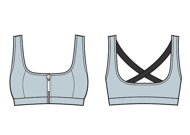 Vrouw sport bh training top. voor- en achteraanzicht. vector schets