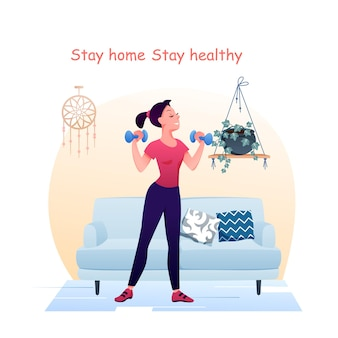 Vrouw sport oefeningen met halters thuis