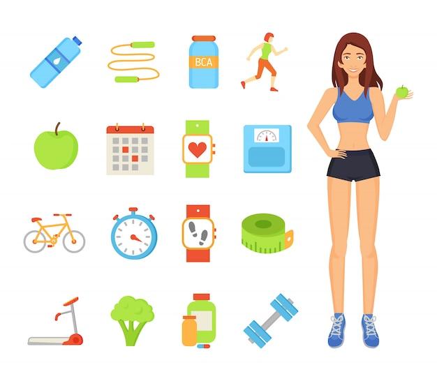Vrouw sportieve vrouwelijke elementen illustratie