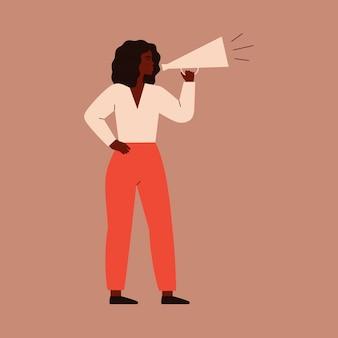 Vrouw spreekt in een megafoon. vrouwelijk personage schreeuwt uit een luidspreker om te protesteren