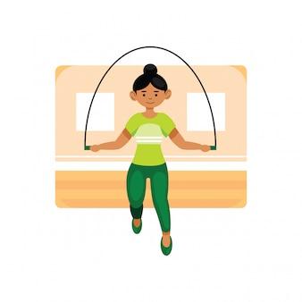 Vrouw springen met springtouw
