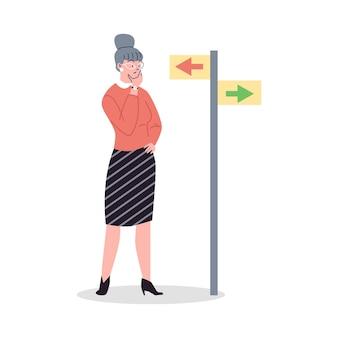 Vrouw staat bij pijlen en besluit de juiste manier te kiezen in vlakke stijl