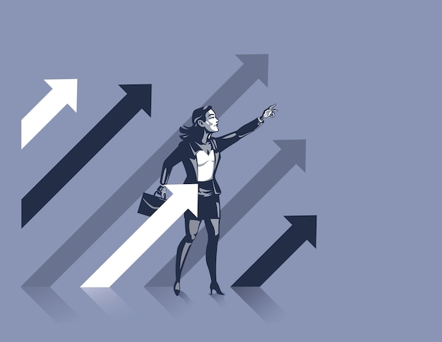Vrouw staat tussen stijgende pijlen als symbool van zelfverzekerde bedrijfsleider, klaar om vooruit te gaan en succes te maken