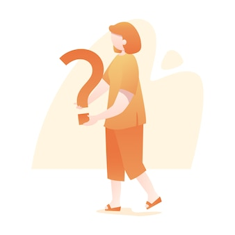 Vrouw status houdt vraagteken illustratie