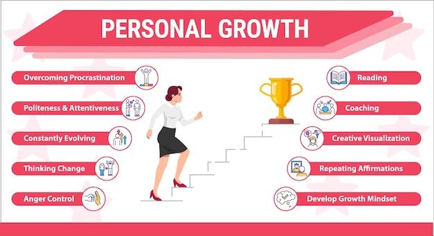 Vrouw stijgt op carrièreladder vector infographic sjabloon. persoonlijke groei ui webbanner met platte karakters. professionele uitdaging. cartoon reclame flyer, folder, ppt info poster idee