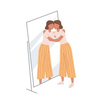 Vrouw stond in de buurt van de spiegel en knuffelde haar eigen spiegelbeeld. concept van eigenliefde en zelfacceptatie. jong meisje en haar spiegeling. platte cartoon illustratie