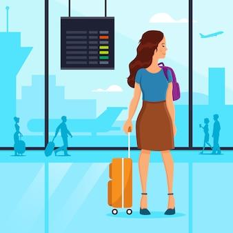 Vrouw stond op de luchthaven