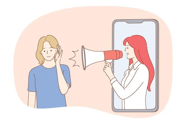 Vrouw stripfiguur luisteren naar reclame nieuws