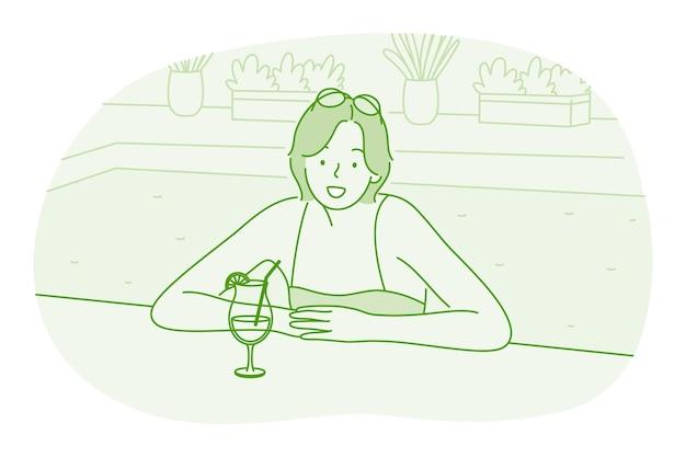 Vrouw stripfiguur ontspannen in zwembad met cocktail