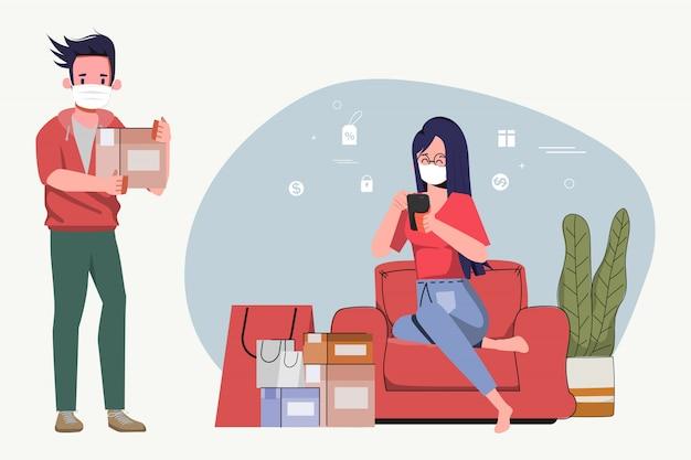 Vrouw stripfiguur thuis blijven en winkelen online levering gratis verzending. bestellen op mobiele telefoon bij covid-19-uitbraak. sociaal afstandsconcept nieuwe normale levensstijl.