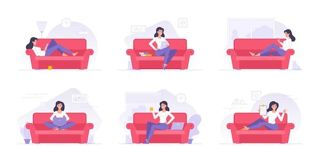 Vrouw stripfiguur tijd doorbrengen thuis platte illustraties