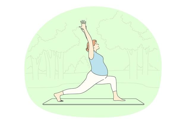 Vrouw stripfiguur uitoefenen en beoefenen van yoga