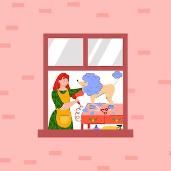 Vrouw stripfiguur zorgt thuis voor haar hond, platte vectorillustratie. stripfiguren van jong meisje en hond in raamkozijn van gebouw.