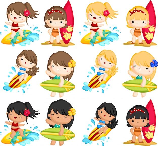 Vrouw surfen in de zee