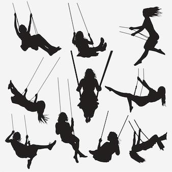 Vrouw swing silhouetten