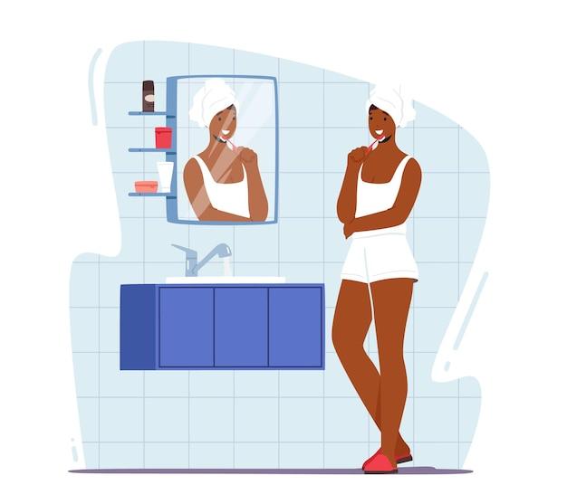 Vrouw tanden poetsen. vrouwelijke karakter hygiëneprocedure