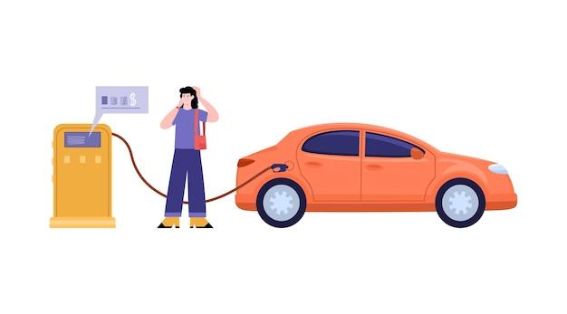 Vrouw tanken auto en genieten van geld besparen platte vectorillustratie geïsoleerd