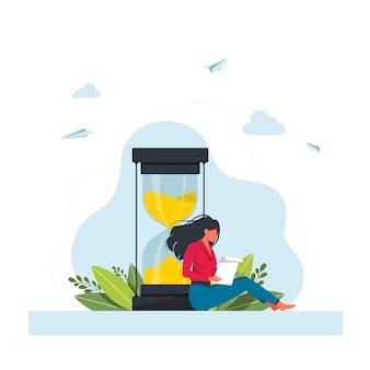 Vrouw te wachten. lang wachten, vrouwelijk personage zit bij enorme zandloper en leest het rapport. afspraak in kliniek of kantoor, vertrekvertraging luchthaven. tijdbeheer, werkplanning. vector illustratie