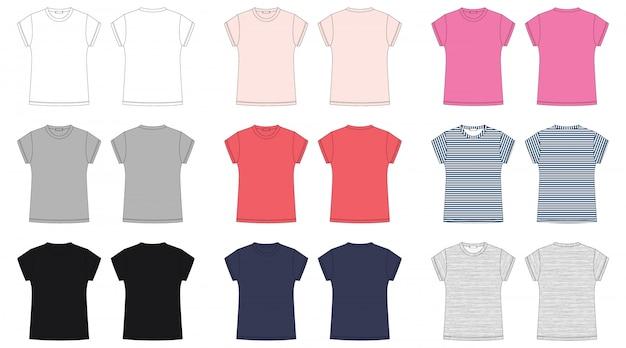 Vrouw tee shirt technische schets.