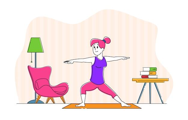 Vrouw teken doen stretching of yoga-oefeningen thuis