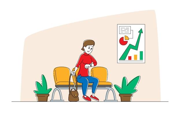 Vrouw teken zitten in hal kijken op polshorloge afspraak in de bank wachten