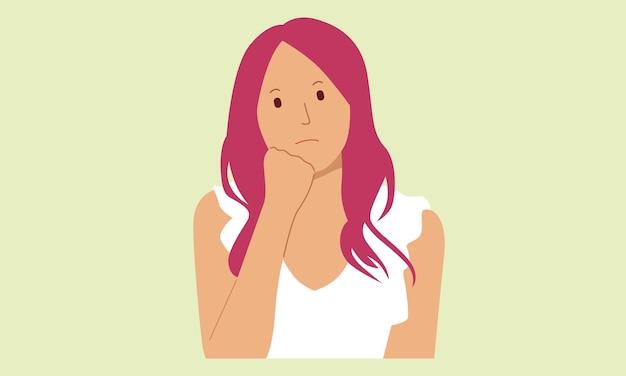 Vrouw terwijl het denken gebaar