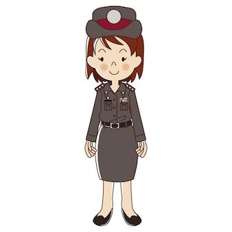 Vrouw thaise politie in uniform