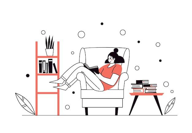Vrouw thuis, liggend op de stoel, boeken lezen. home bibliotheek. het concept van het lezen van papieren literatuur. jonge volwassen vrouw die rust met goed boek heeft. meisje dat thuis geniet van. vector illustrat