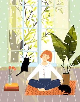 Vrouw thuis ontspannen en vredige sfeer met katten.