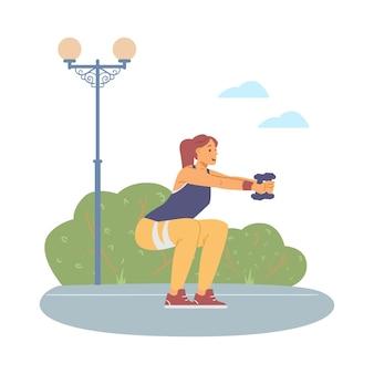 Vrouw training buitenshuis met halters platte vectorillustratie geïsoleerd