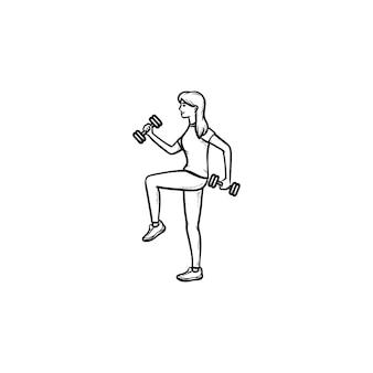 Vrouw training met halters hand getrokken schets doodle pictogram. fitness in de sportschool, oefeningen met halters concept