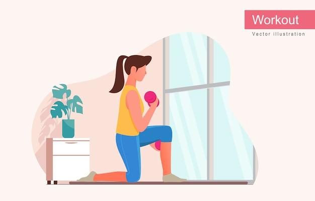 Vrouw training verhoogde halters doen. yoga en fitness thuis.