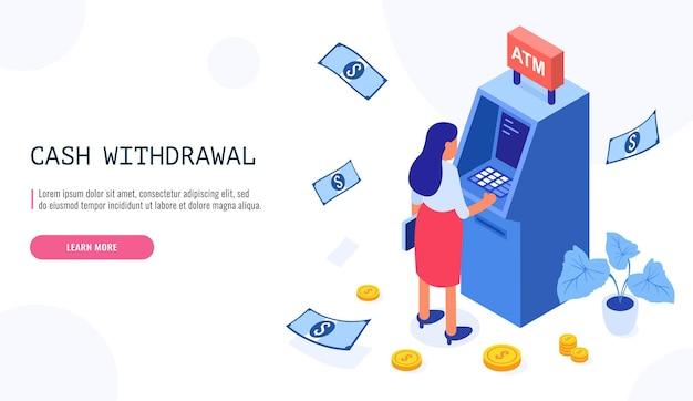 Vrouw trekt geld uit een geldautomaat in isometrische stijl